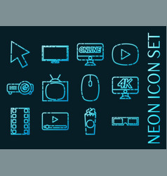 online cinema set icons blue glowing neon style vector image