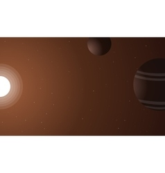 outer space sun and planet vector image