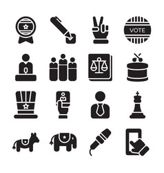 Politics glyph icons pack vector