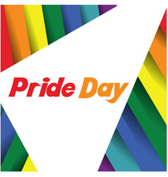 pride day text triangle rainbow background vector image