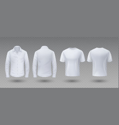 realistic t-shirt and shirt white mockup isolated vector image