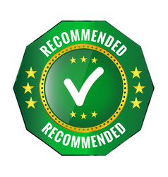 recommended green badge vector image