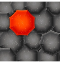 Red Umbrella on Black Background vector image