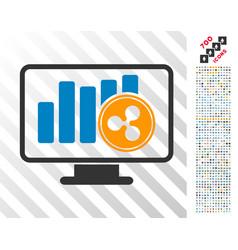 Ripple chart monitoring flat icon with bonus vector