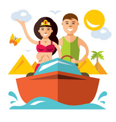 romantic vacation flat style colorful vector image