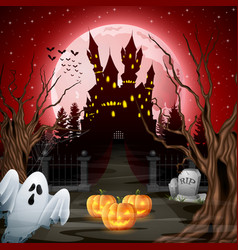 Scary castle with ghost and pumpkins in the woods vector