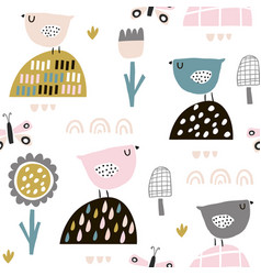 seamless childish pattern with fairy flowers vector image