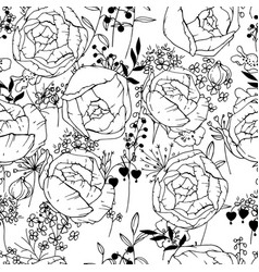 seamless pattern with black and white contour vector image