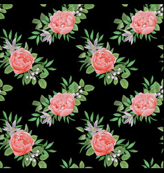 seamless pattern with flowers and greenery vector image