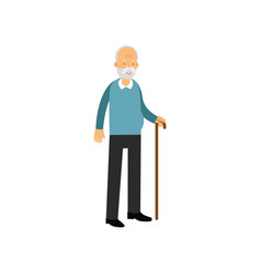 Senior man standing with cane pensioner people vector