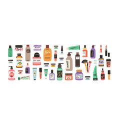 set different beauty cosmetic products for body vector image