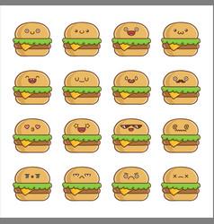 Set fun kawaii cheese hamburger icon cartoons vector