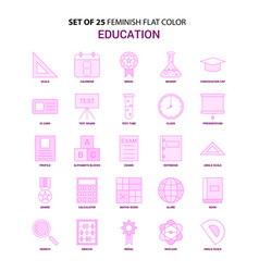 set of 25 feminish education flat color pink icon vector image