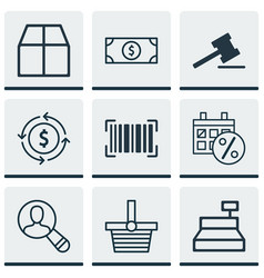 Set of 9 e-commerce icons includes buck till vector