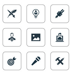 set simple visual art icons vector image