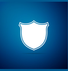 shield icon isolated on blue background guard vector image