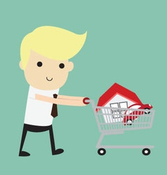 Shopping for a Home A man walking with a new house vector