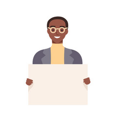 Smiling african american guy holding empty placard vector