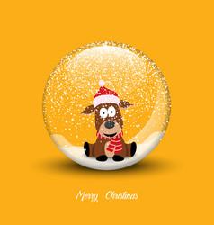Snow globe with christmas dog merry christmas vector