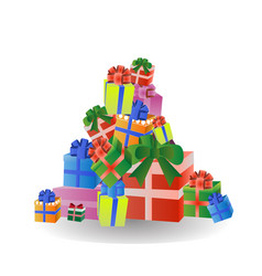 Stack of colorful gift and present boxes isolated vector