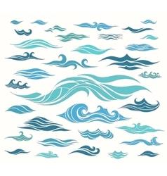 Waves set of elements vector