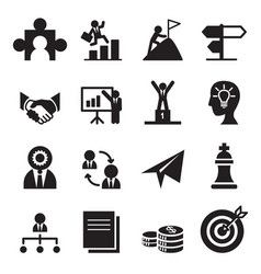 Way to success icons set vector