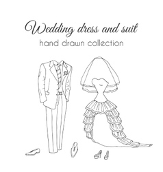Wedding dress and suit Sketchy style vector image