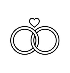 Wedding rings line style icon vector