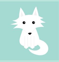 White fox polar wolf cute cartoon bacharacter vector