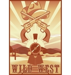 Wild west vintage card or poster with desert vector image vector image