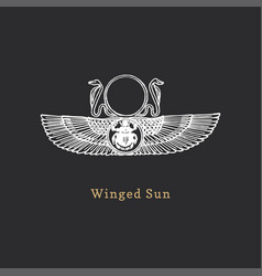Winged sun in engraving style vector