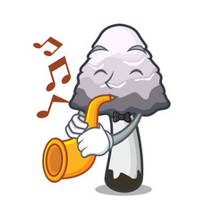 With trumpet shaggy mane mushroom mascot cartoon vector