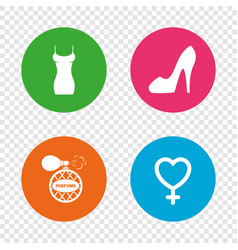 Women dress icon sexy shoe sign perfume vector