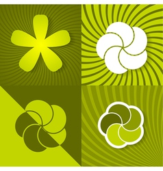 Set a green spring backgrounds with flowers vector image