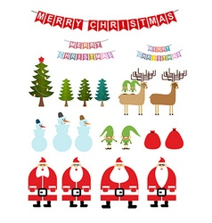 Set of Christmas items Collection of New Years vector image vector image