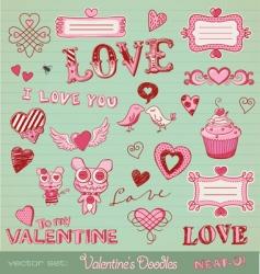 valentines doodles vector image vector image