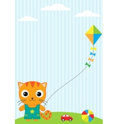 Cat and kite vector image vector image