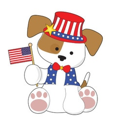 Cute Puppy Fourth of July vector image vector image