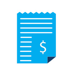 dollar bill invoice icon on white background vector image