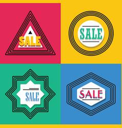 geometrical line shapes sale emblems icons set vector image