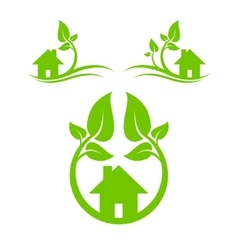 Green houses set vector image vector image