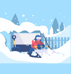 guy cleans snow after snowfall vector image