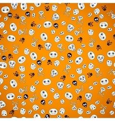 Halloween seamless bright skull doodle pattern vector image