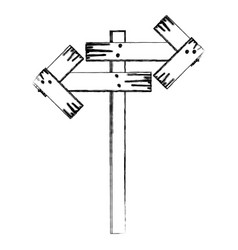 monochrome contour of wooden sign for directions vector image