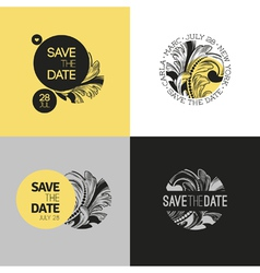Save the date wedding graphic set in baroque style vector image vector image