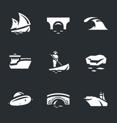 set of water and transport icons vector image vector image