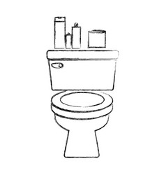 Sketch silhouette of toilet and toilet paper and vector