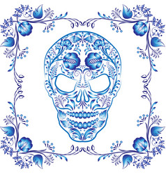 blue patterned skull with flowers in a frame vector image vector image