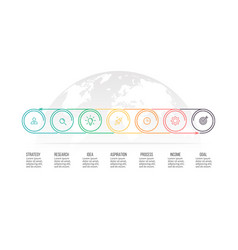 business process timeline with 7 options circles vector image