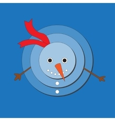 Cute snowman on blue background vector image vector image